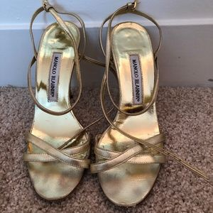 Shoes - Manolo Blahnik Strappy Gold Heels